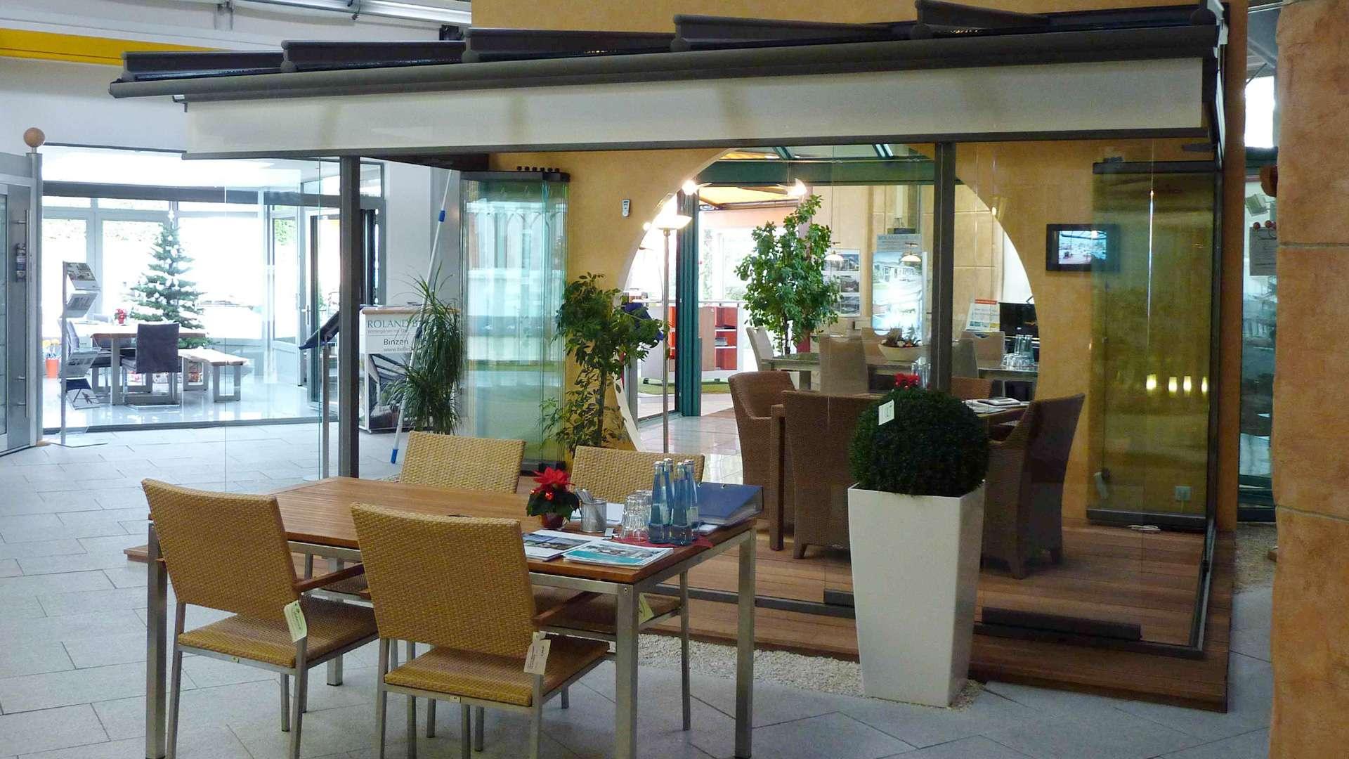 Terrassendach in der Ausstellung von Boller in Binzen