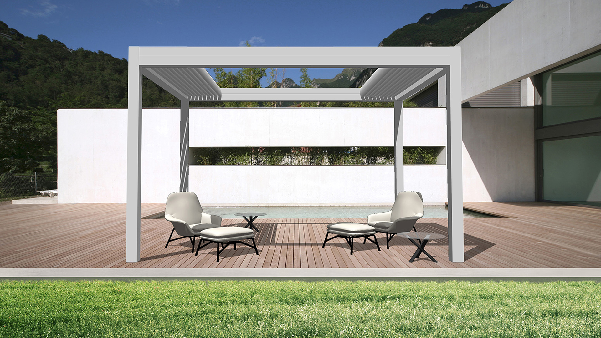 freistehendes Open'R® Lamellendach auf einer Terrasse