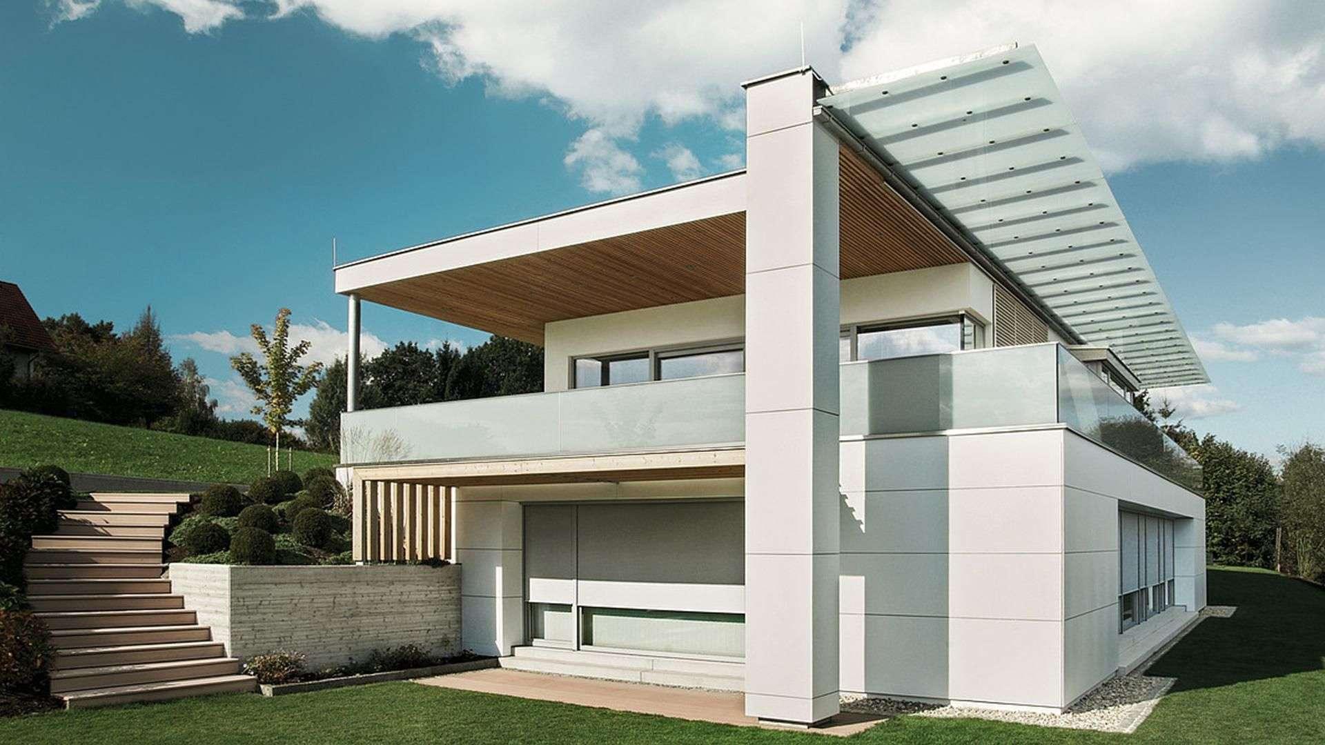 modernes Haus mit Textilscreen