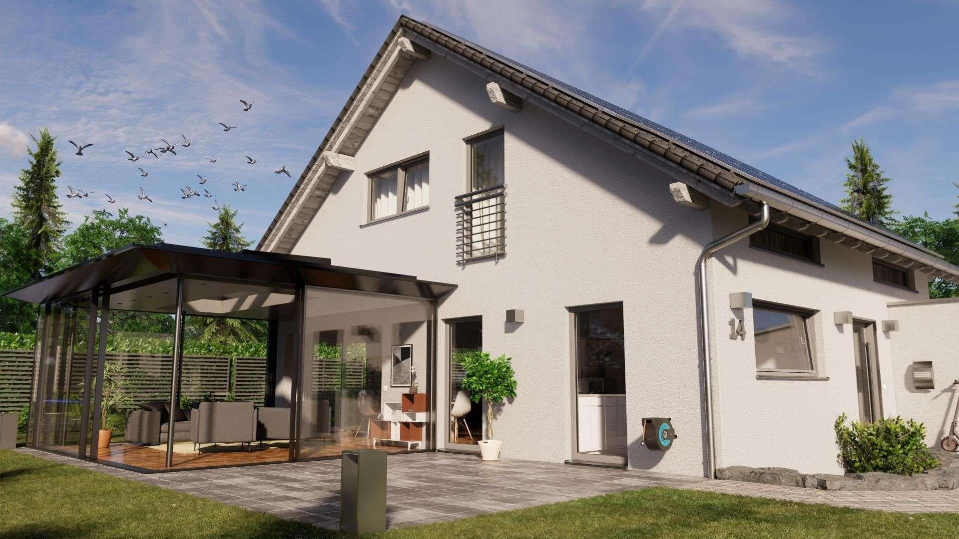 SDL AvalisSDL Avalis Flachdach auf der Terrasse eines Wohnhauses