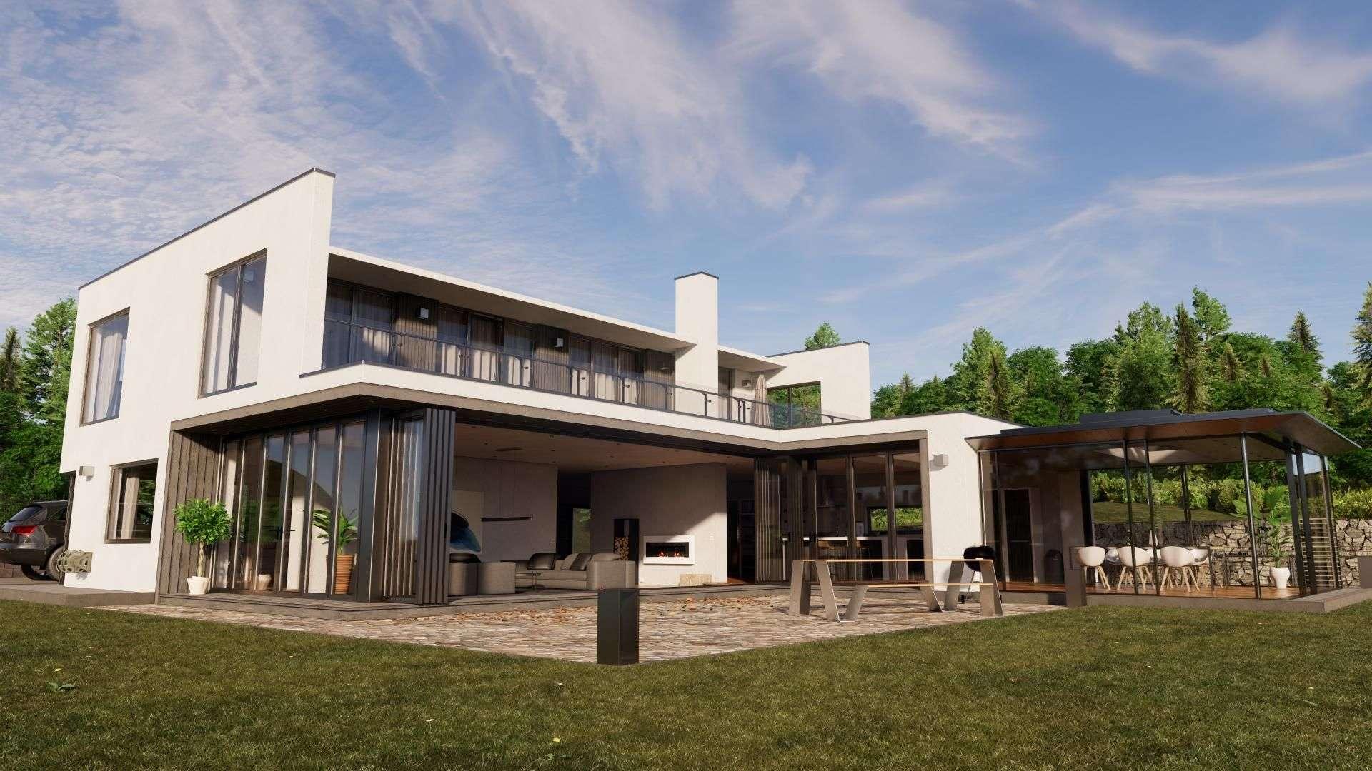 großes Wohnhaus mit langer bodentiefer Fensterfront