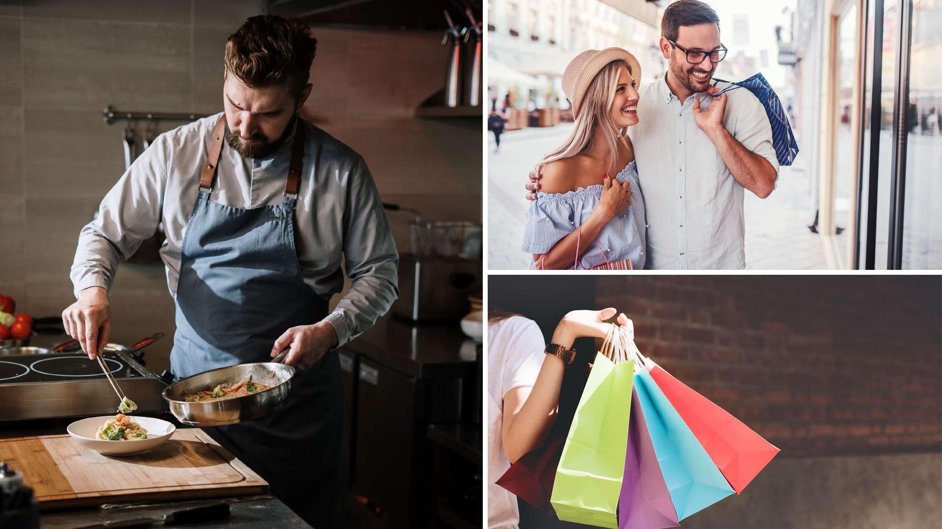 dreigeteiltes Bilder mit einem Koch, einem Pärchen beim Shoppen und vier bunten Tüten