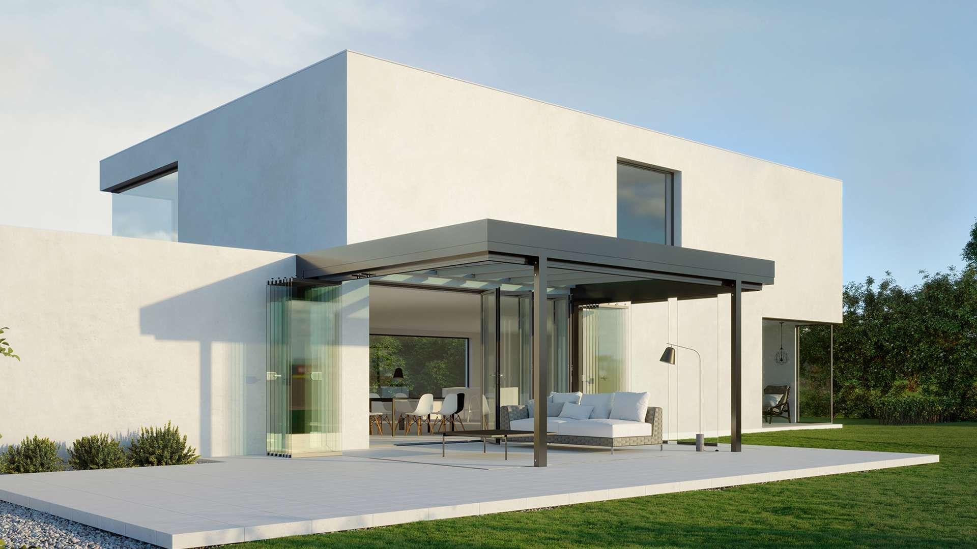 SDL Acubis Terrassendach an einem modernen Wohnhaus mit großem Garten