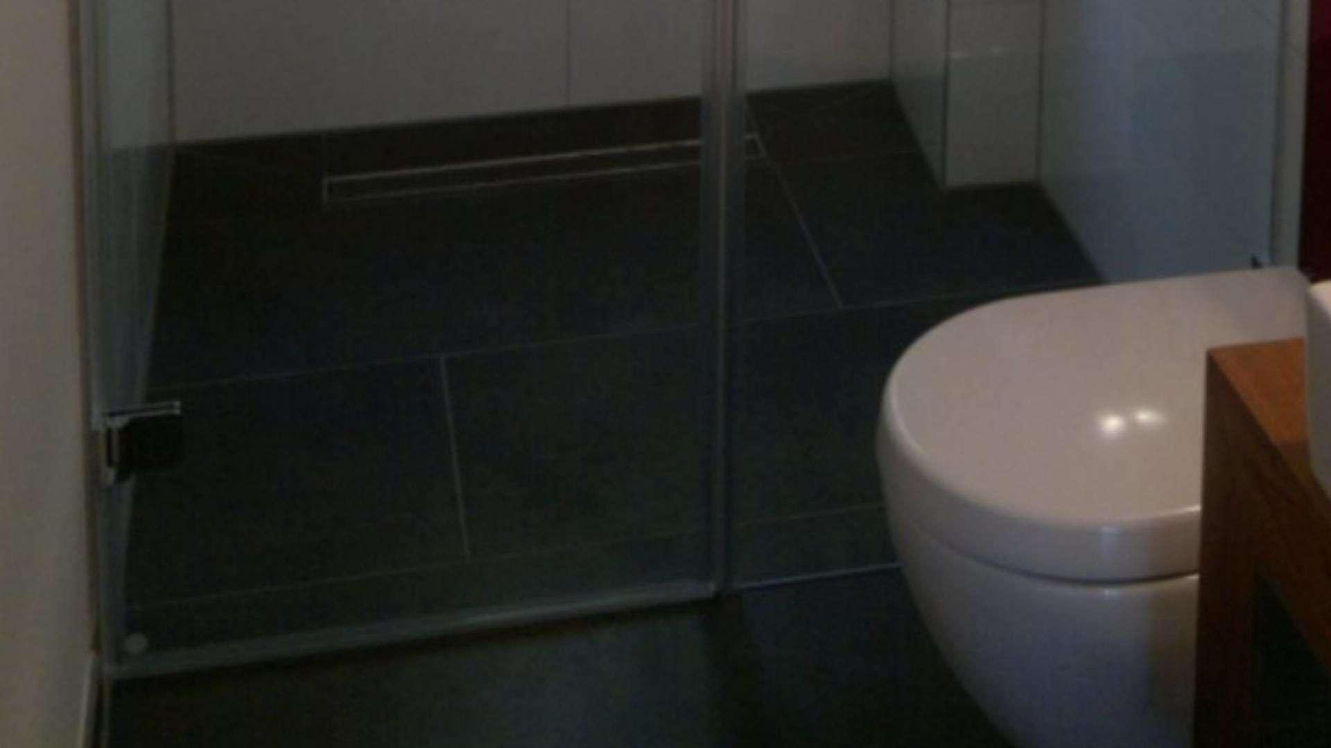 ebenerdige Dusche mit Glaswand hinter einer Toilette