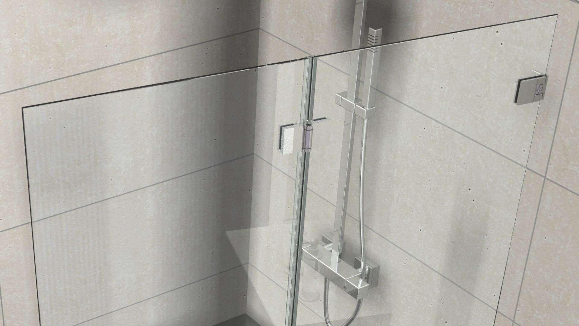 Nahansicht einer Duschtrennwand