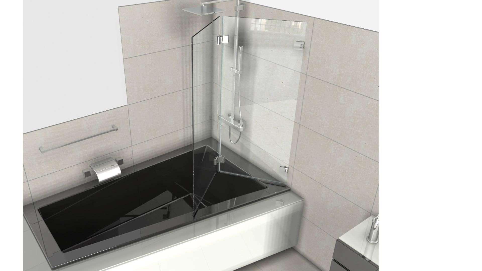 Badewanne mit Glastrennwand zum Duschen