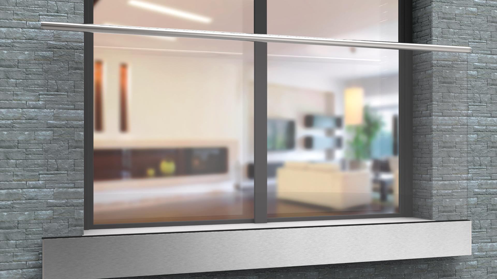 Glasgeländer vor einem Doppelfenster