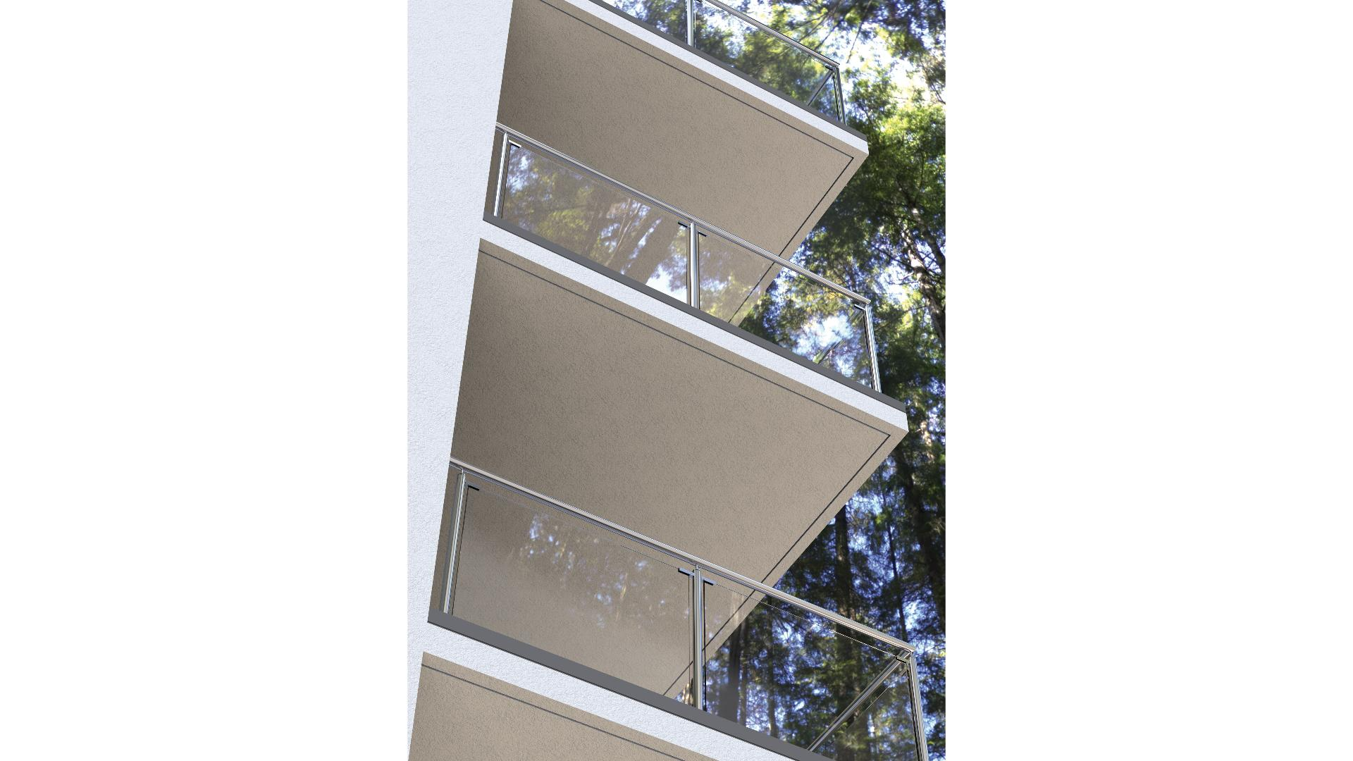 Blick von unter auf mehrere Balkone eines Mehrfamilienhauses