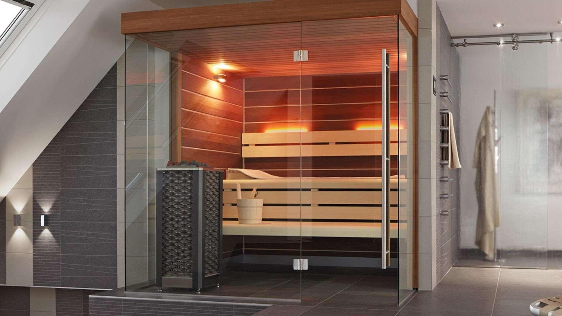 Sauna mit Glastür