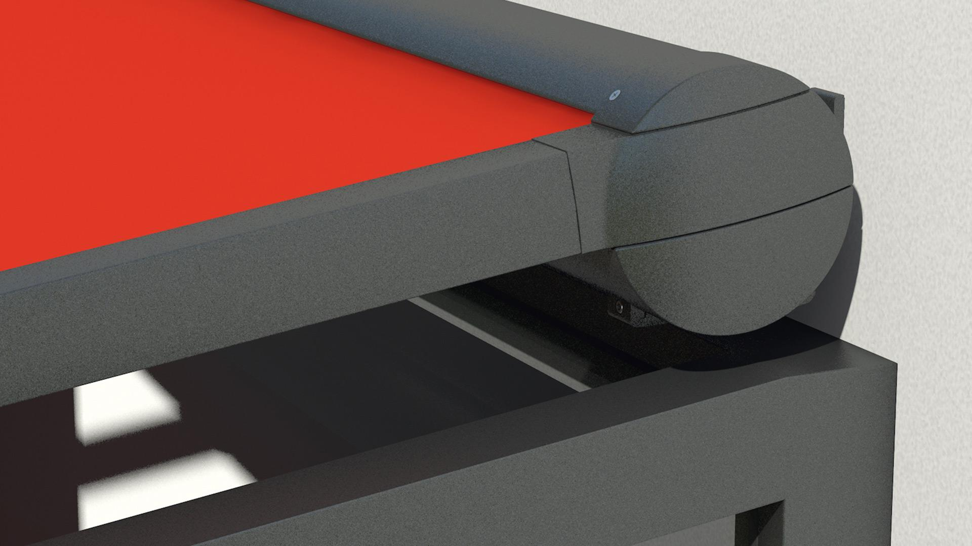 Detailansicht der Aufglasmarkisenkassette