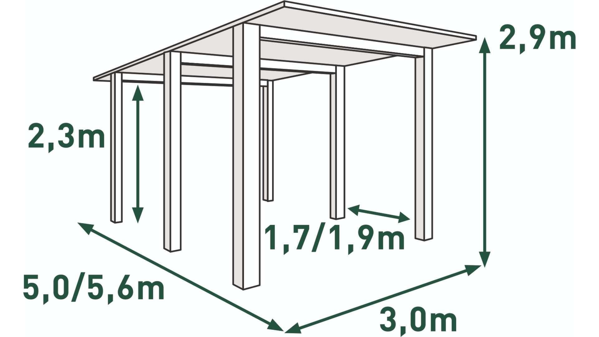 Single Carport mit 6 Pfosten und Bemaßung