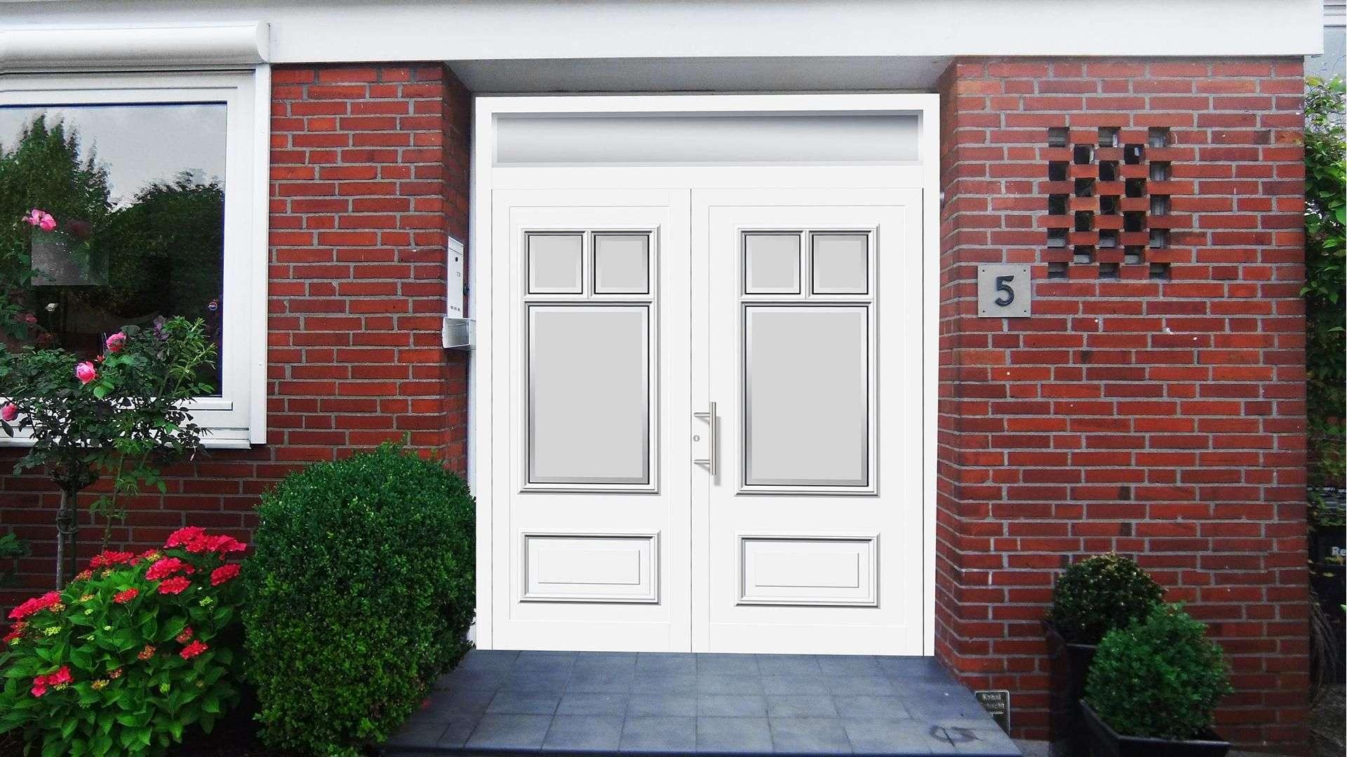 konfigurierte Haustür in rotem Klinker