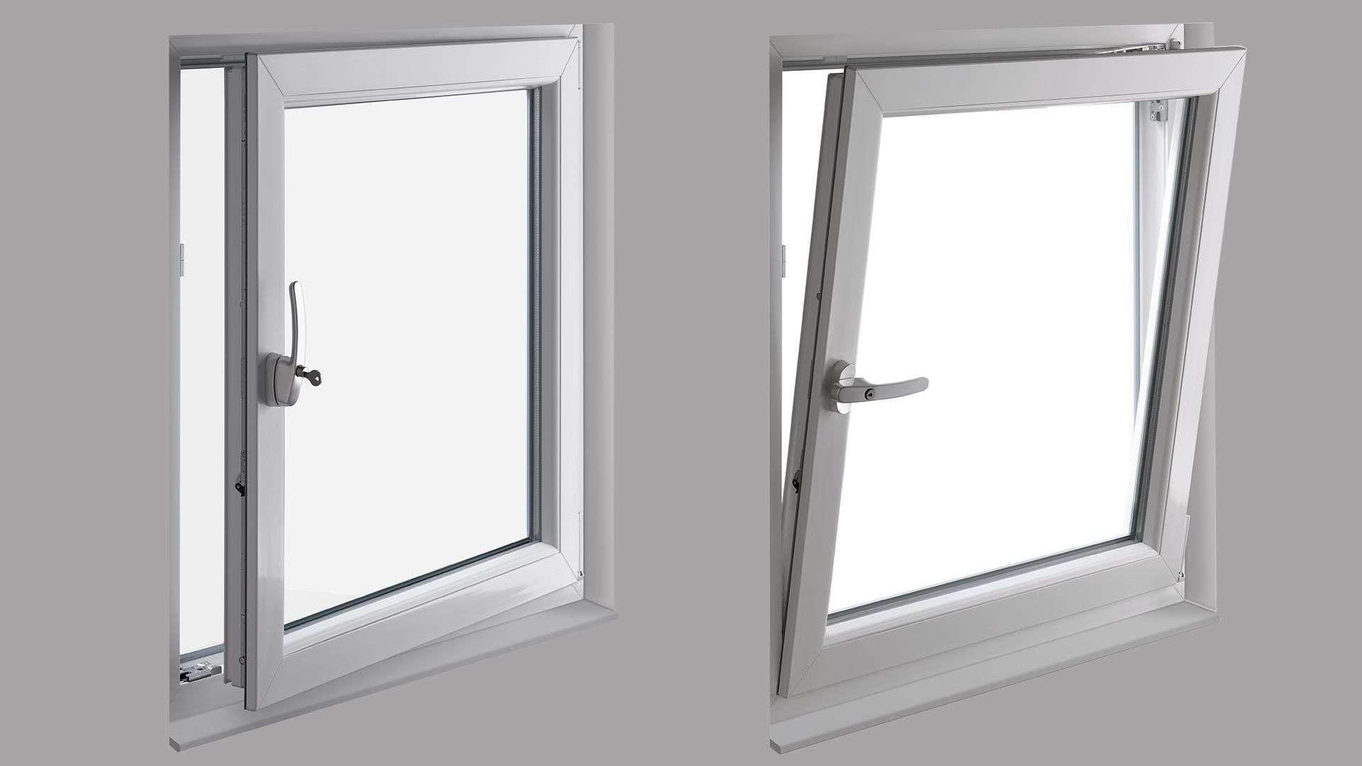 Abbildung zweier Fenstern, eines offen und eines auf Kipp