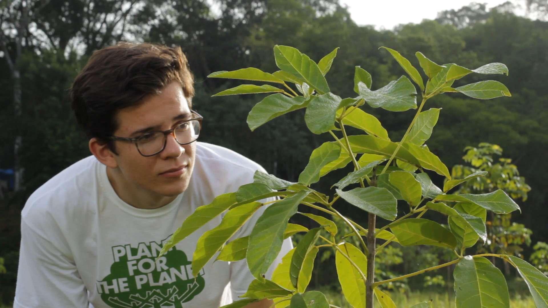 Felix Finkbeiner guckt sich einen Baum an