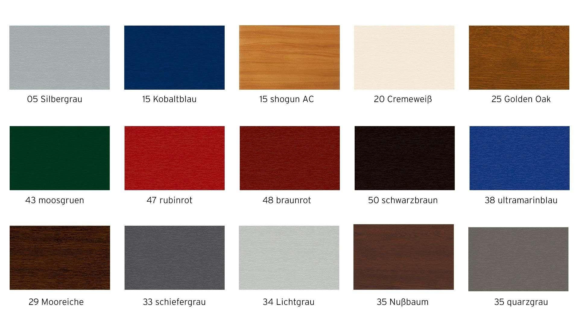 Übersicht verschiedener Oberflächenfarben