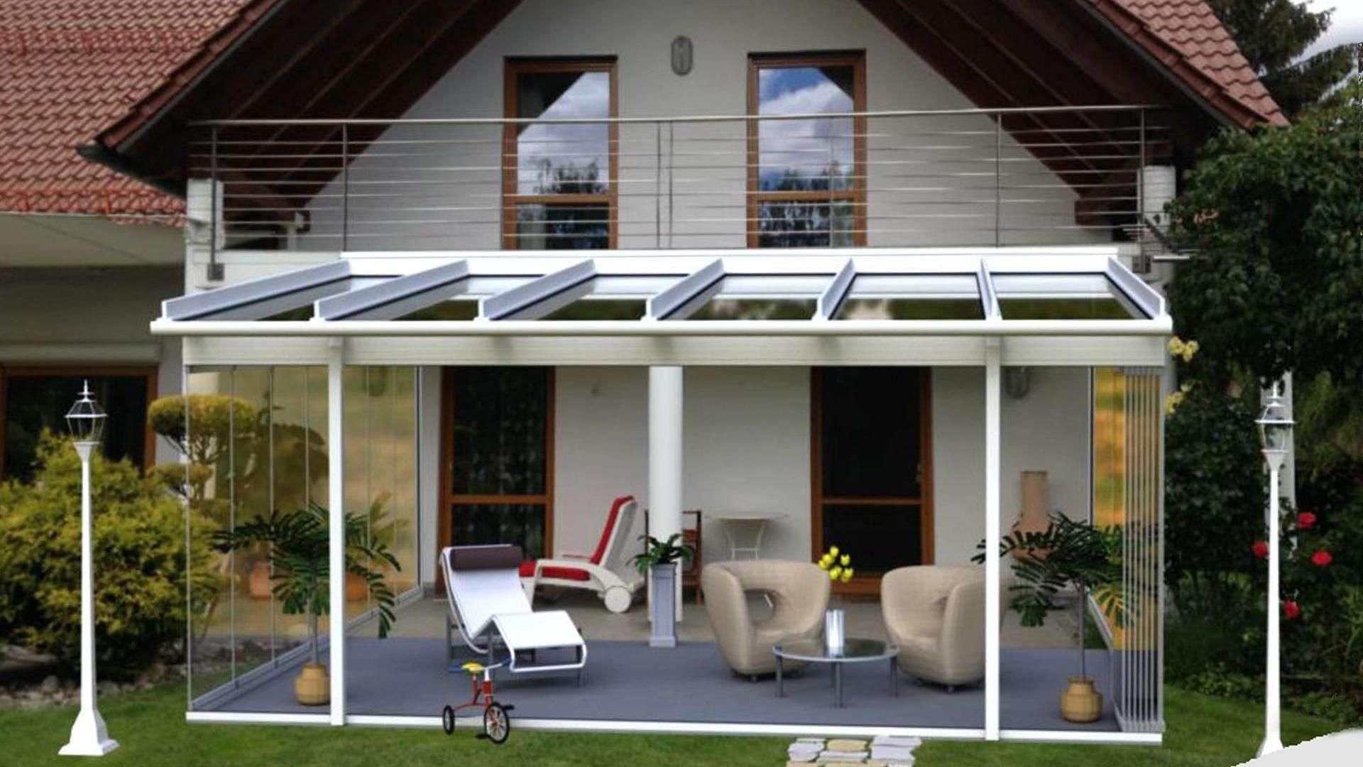 Visualisierung eines Wintergartens auf einer Terrasse an einem Wohnhaus
