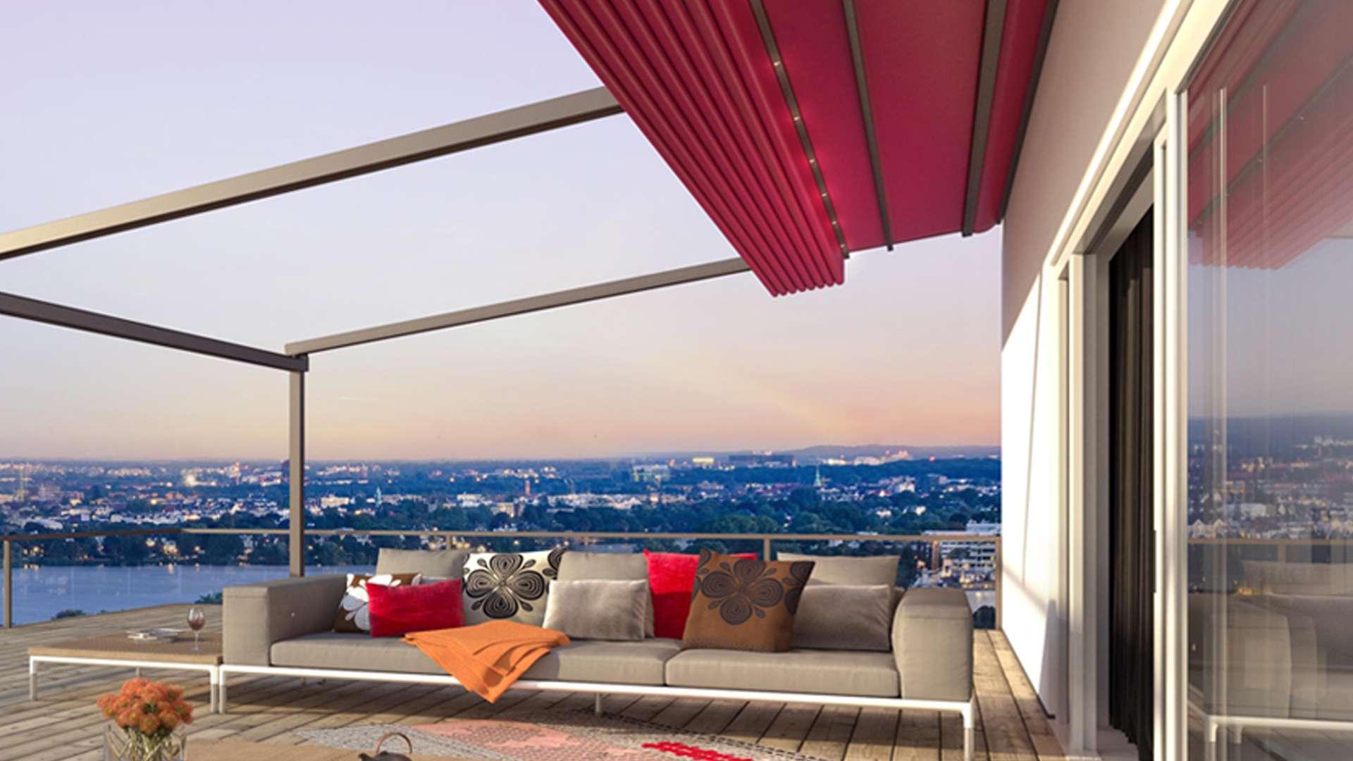 offenes Pergola-Systeme über einer Dachterrasse mit Blick auf die Stadt