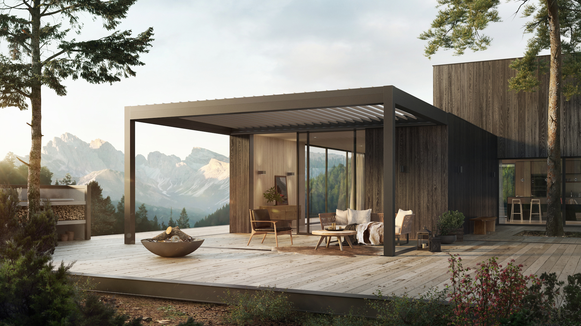 Lamellendach Lamaxa an einer Holzhütte mitten in den Bergen